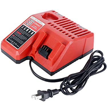 M12 & M18 Multi Voltage Lithium Ion Battery Charger for Milwaukee 48-59-1812 18V&12V Fuel Gauge XC Battery