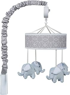 Trend Lab Gray and White Circles Plush Elephant Musical Mobile, Baby Mobile, Elephant Nursery Décor