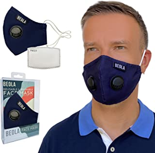 BEOLA Washable Face Mask Non Medical Reusable Cotton With Valve Filter Reusable Bella Adult Woman Man Fashion (Dark Blue 1...