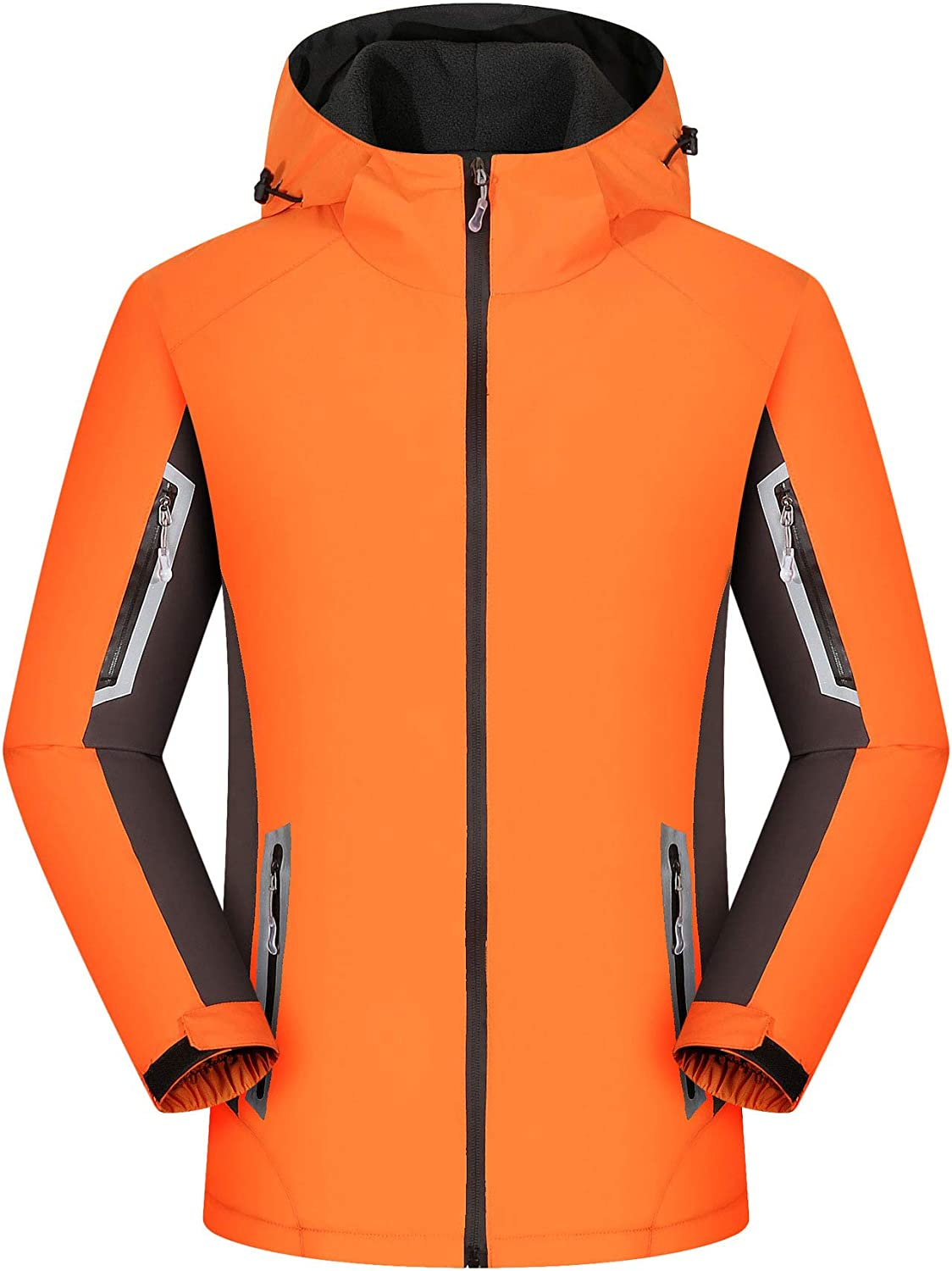 Huanxin Men's Outdoor Fleece Jackets Waterproof Softshell Jackets, Mens Women Casual Travel Jacket Breathable Working Coats with Multi Pockets,C,M