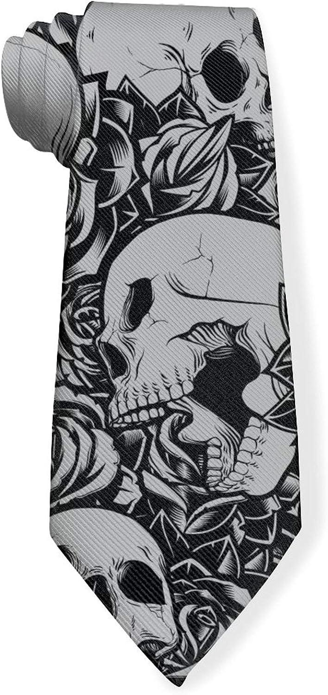 Skull RoseMens Classic Color Slim Tie, Men's Neckties, Fashion Boys Cravats