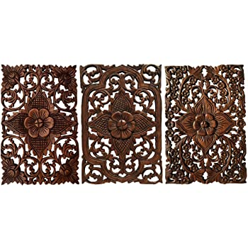 "Set of 3. Wall Art Wood Carved Panel Floral Design. Tropical Wall Decor in Size 12""x17.5""x0.5"" (Dark Brown)"