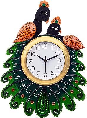 eCraftIndia Handcrafted 2 Peacocks Decorative Papier-Mache and Wooden Wall Clock (23 cm x 3 cm x 36 cm, KWC649)