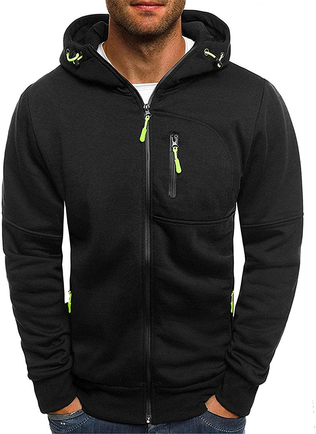 Aayomet Hoodies Sweatshirts for Men Fashion Solid Tops Zipper Long Sleeve Workout Hooded Pullover Blouses Coat with Pockets