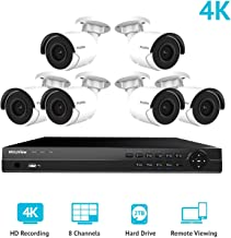 LaView 8 CH Ultra HD 4K NVR PoE Security Camera System with 6 x 8MP IP Bullet Cameras, 100ft Night Vision, Weatherproof Expandable Surveillance Camera System NVR 2TB HDD