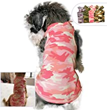 Lovelonglong Fashion Pet Dog T-Shirt, Soft and Comfy Cotton Puppy Dog Tanks Top Camouflage Summer Tee Shirts for Large Medium Small Dogs
