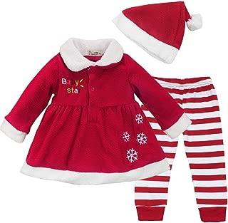 YiZYiF Baby Girls Christmas Santa Claus Dress Leggings Hat Outfit Xmas Costume