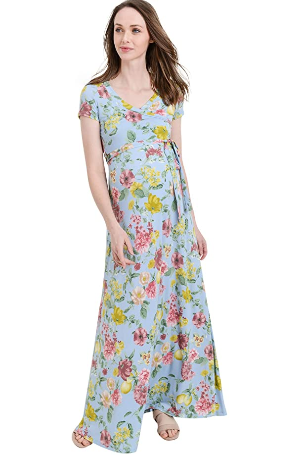 Hello MIZ Women's Faux Wrap Maxi Maternity Dress with Belt - Made in USA