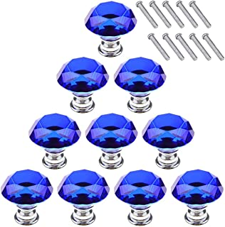 Akstore 10 Pcs Crystal Glass Cabinet Knobs 30mm Diamond Shape Drawer Kitchen Cabinets Dresser Cupboard Wardrobe Pulls Handles (Blue)