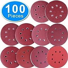 SIQUK 100 Pieces Sanding Discs 5 Inch 8 Holes Hook and Loop Sanding Disc 80/180/ 240/320/ 400/800/ 1000/1500/ 2000/3000 Grit Assortment for Random Orbital Sander