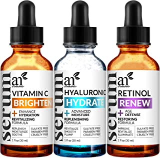 ArtNaturals Anti-Aging-Set with Vitamin-C Retinol and Hyaluronic-Acid - (3 x 1 Fl Oz / 30ml) Serum for Anti Wrinkle and Da...
