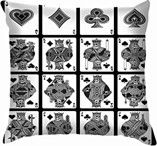 X-Large Skull Playing Cards Set Black White Sports Recreation Card Throw Pillows Covers Accent Home Sofa Cushion Cover Pillowcase Gift Decorative 20X20 Inch