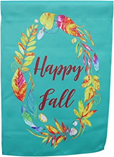 Boho Watercolor Autumn Garden Flag; Happy Fall message in wreath with leaves and feathers; true double sided, readable both sides; 12 inches by 18 inches