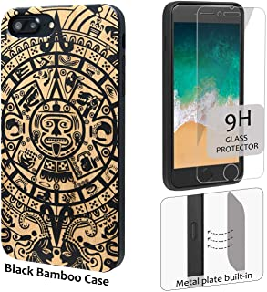 iProductsUS Totem Phone Case Black Compatible with iPhone 8, 7, 6/6S and Screen Protector-Real Bamboo Wood Cases Engraved Mayan Calendar,Built-in Metal Plate,TPU Rubber Protective Cover (4.7