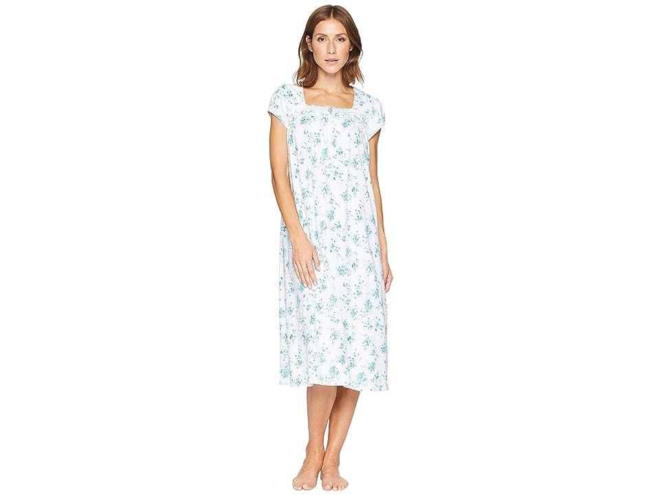 Eileen West Cotton Jersey Ballet Nightgown (White Ground/Teal Floral) Women