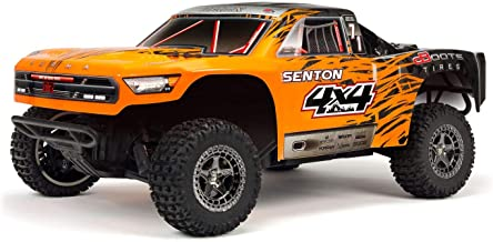 ARRMA 1/10 SENTON 4X4 3S BLX Brushless 4WD RC Short Course Truck RTR with 2.4GHz Radio (Battery Not Included), Orange/Black (ARA102721T2)