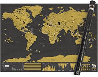 Large World Scratch Map – Personalized World Travel Map – Deluxe XL Scratch Off Map – Fun & Colorful Scratch Poster – Grea...