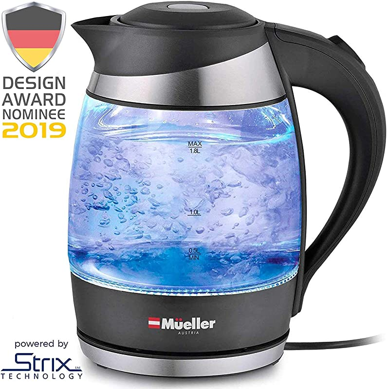 Mueller Premium 2019 Model 1500W Electric Kettle Water Heater With SpeedBoil Tech 1 8 Liter Cordless With LED Light Borosilicate Glass BPA Free With Auto Shut Off And Boil Dry Protection