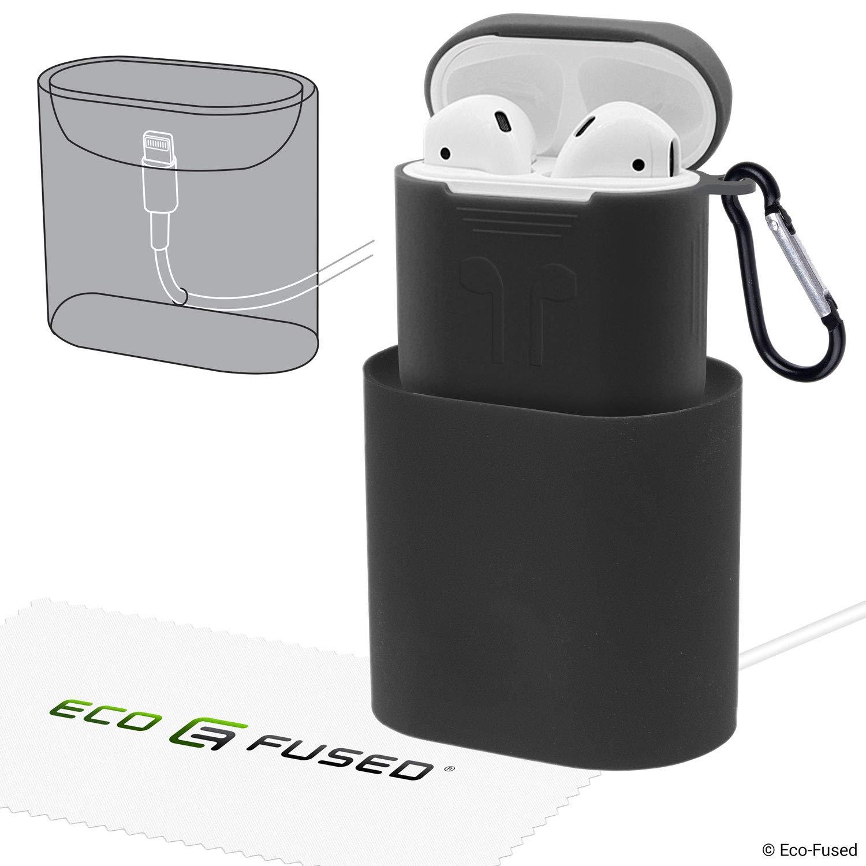 Soporte de Carga + Funda para Airpods - Silicona, Negro - Acople el Estuche Original de los Airpods
