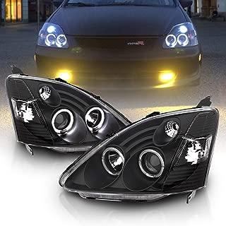 AmeriLite Projector Headlights Halo Black for Honda Civic 3 Door - Passenger and Driver Side