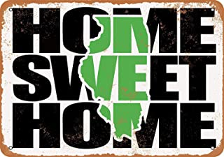Home Sweet Home Illinois Green Vintage Look Metal Signs for Garage Man Cave Wall Art Decor for Home Bar Garage Store Yard Office 8 x 12