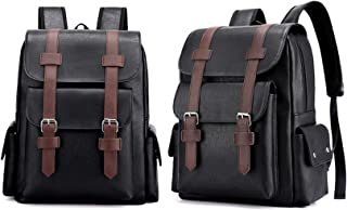 Hot And Bold Vegan Leather Multi-Compartment Laptop Canvas Backpack.
