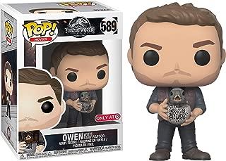 Funko Owen Grady w/ Baby Raptor (Target Exclusive): Jurassic World - Fallen Kingdom x POP! Movies Vinyl Figure & 1 POP! Compatible PET Plastic Graphical Protector Bundle [#589 / 30990 - B]