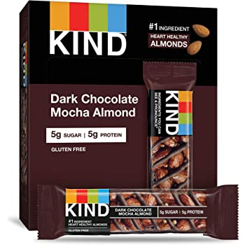 KIND Bars, Dark Chocolate Mocha Almond, Gluten Free, Low Sugar, 1.4oz, 12 Count