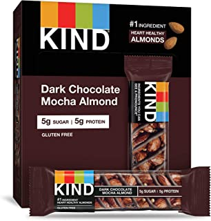 KIND Bars, Dark Chocolate Mocha Almond, Gluten Free, Low Sugar, 1.4 Ounce, 12 Count
