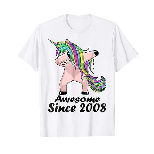 Kid 11 Yrs Old 11th Birthday Unicorn Dabbing Shirt 2008 Cute