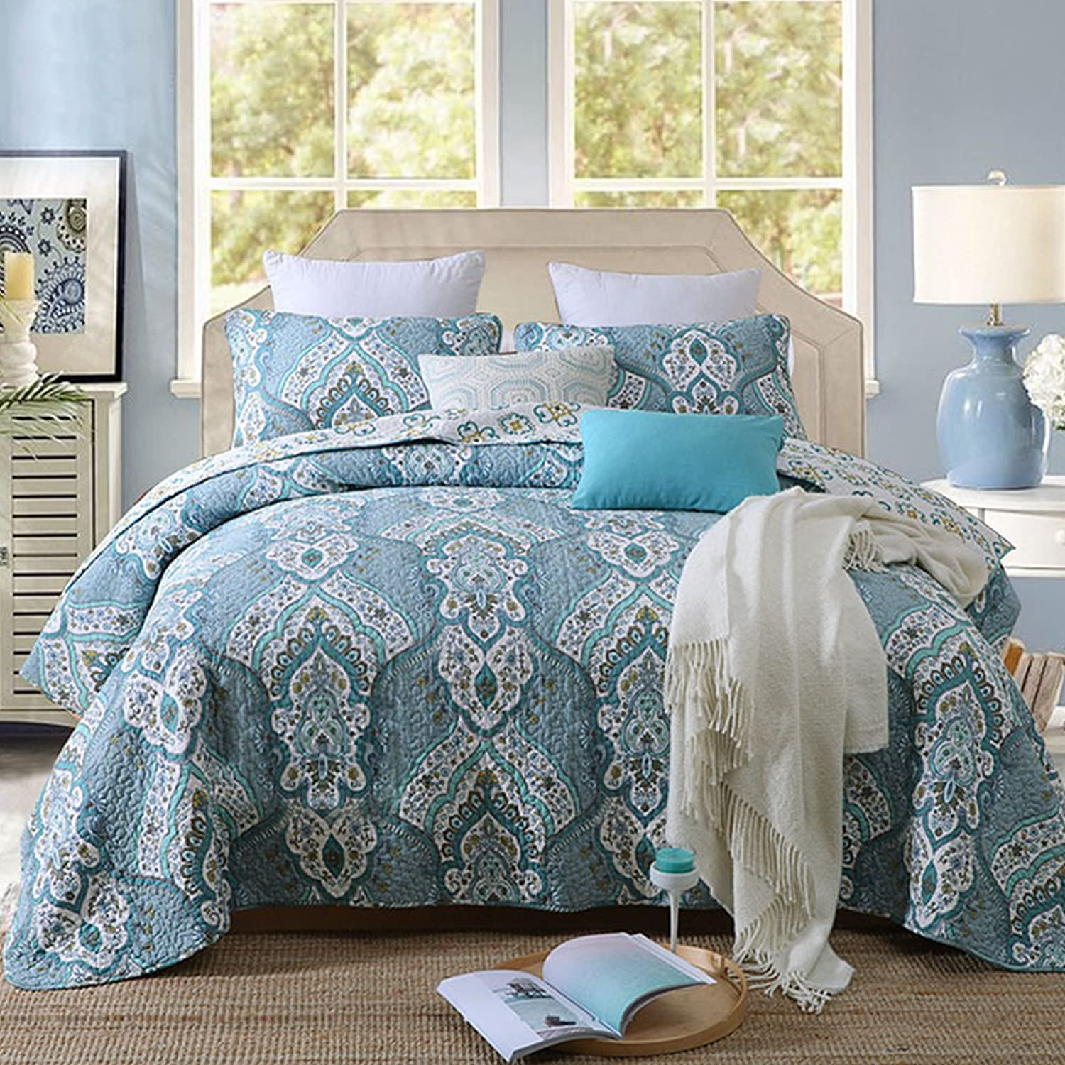 Gravan 3-Piece Queen Quilt Sets with Shams Oversized Bedding Bedspread Coverlet Set, Classical Paisley Printed