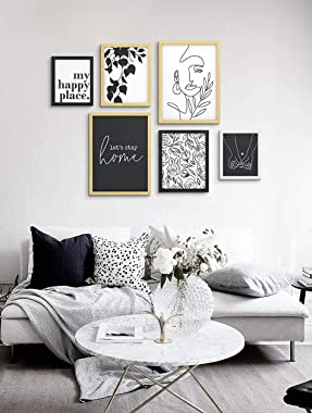 ArtbyHannah Minimalist 6 Pack Gallery Wall Picture Frame Sets with Decorative Art Prints for Wall Art Decor or Home Decoratio