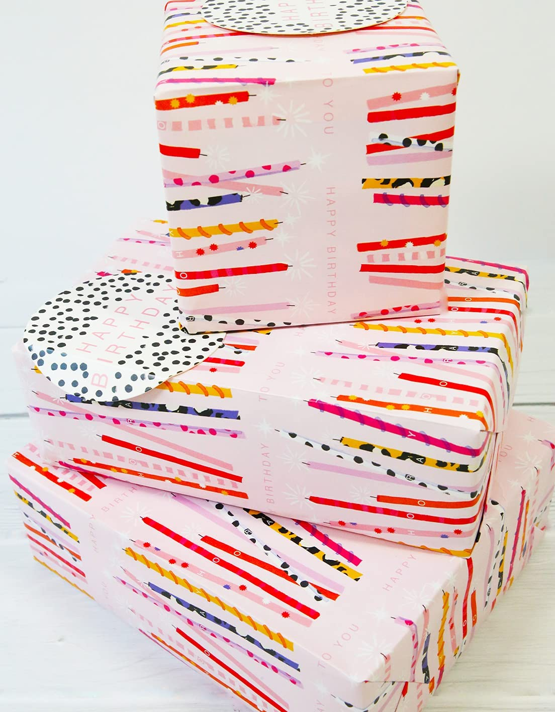 Abacus 12364A - Paquete de papel de regalo con 2 hojas y 2 etiquetas, sin plástico