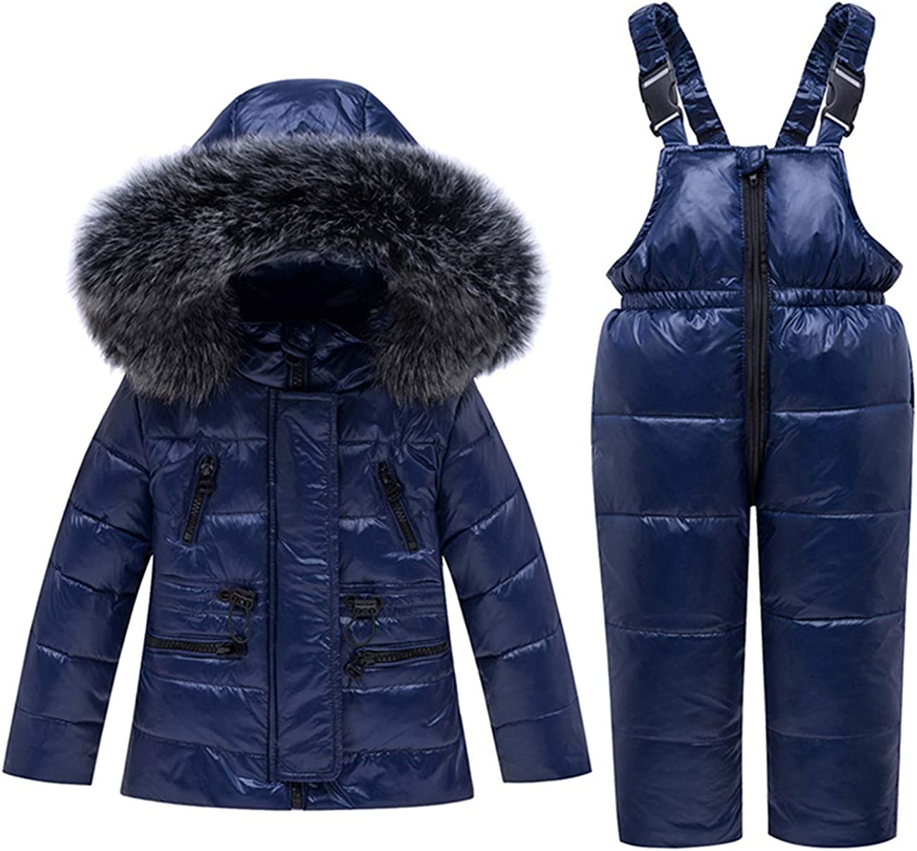 2 Piece Unisex Baby Winter Warm Snowsuit Hoodie Puffer Down Jacket with Snow Ski Bib Pants Outfits