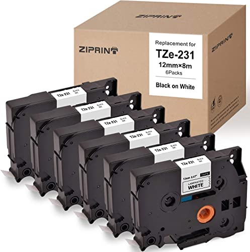 lowest ZIPRINT outlet sale TZe-231 Laminated Label Tape 12mm online sale 0.47inch Compatible Brother P-Touch TZ231 TZe231 TZe-231 TZ Black on White,for Brother Ptouch Label Maker PT-D210 PT-H110 PT-D600 PT-1230PC Printer(6-Pack) online sale