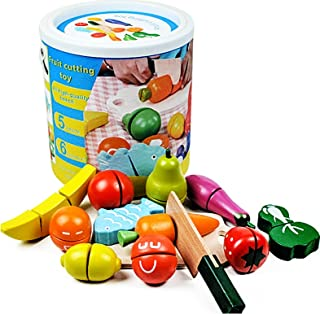 Beauenty Early Educational Cutting Play Food Set for Toddlers Set Fruit Barreled Vegetables Wooden Simulation Barrels Cut ...
