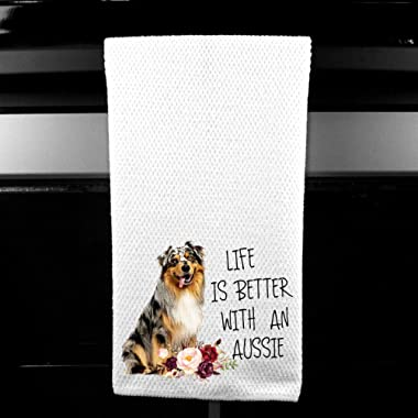 Live is Better with an Aussie, Australian Shepherd Microfiber Kitchen Tea Bar Towel Gift for Animal Dog Lover