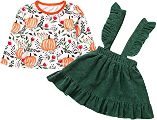 Toddler Baby Girls Pumpkin Organic Shirt Ruffled Dress Long Sleeve Tops Outfit Cloth Halloween Costumes Christmas Party