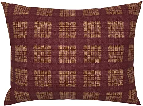 Roostery Pillow Sham Plaid Tartan Puce Maroon Burgundy Yellow Print 100 Cotton Sateen 26in X 26in Knife Edge Sham Home Kitchen