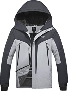 Wantdo Men's Windproof Ski Fleece Jacket Waterproof Parka Insulated Winter Coat