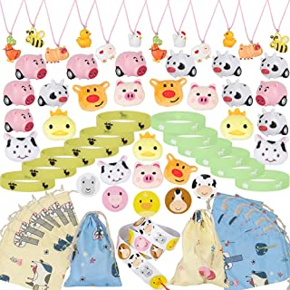 61 PCS Farm Animal Party Favors Set, Barn Party Cow Farm House Pig Necklace Bracelet Brooch Stickers Friction Cars Toys Gi...