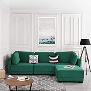 Green Modular Sectional Sofa Couch Convertible Sofa Sectional w/Reversible Chaise Ottoman, 3 Piece (Custom Couch Feature) Modern L-Shaped Sectional Sofa from 2Pc Loveseat to Chaise Ottoman Sofa, Green