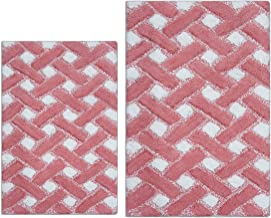 "Clairvoyance Basketweave Bath Rug Set 2 Pieces, Non Slip Cotton Bath Mats Set for Bathroom, Machine Washable (21""x 34"" + 2..."