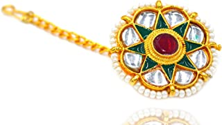 Aashya Mayro Rajwadi Green Meenakari and Kundan Work Pearl Studded, Gold Plated Borla Maang Tikka for Women & Girls