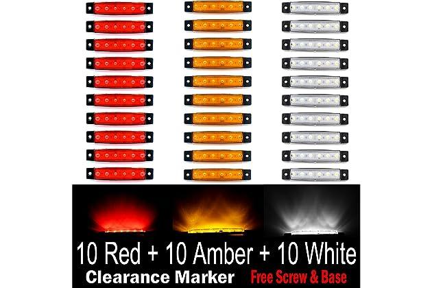 Rear Side Marker Lamp Amber Amber Trailer Marker Lights Pack of 20 LEDVillage 20 Pcs 3.8 6 LED Amber Side Marker Lights RV Marker light Yellow Led Marker Lights for Trucks Cab Marker
