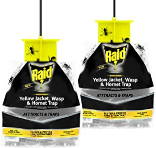 Raid Wasp Trap, Yellow Jacket Trap & Hornet Traps for Outdoors (2-Pack), Hanging Insect Trap, Disposable Wasp, Hornet & Yellow Jacket Traps w/Food-Based Attractants, Effective Yellowjacket Wasp Trap