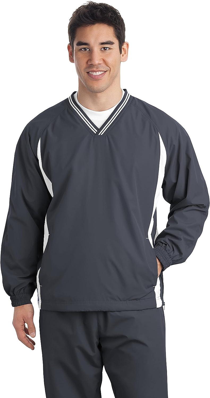 Sport-Tek Mens Tall Tipped V-Neck Raglan Wind Shirt, LT, Graphite Grey/White