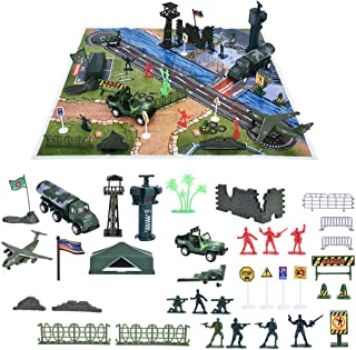 Ama-store Military Base Set, Army Men Playset with Vehicles, Accessories & Play Map, Plastic Toy Soldiers Set, Including Armies of Soldiers, Tanks, Jets, Walls and More Christmas Toys Gifts Boys Girls