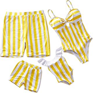 Yaffi Family Matching Swimsuit Striped One Piece Beach Wear 2019 Newest Off Shoulder Monokini Bathing Suit