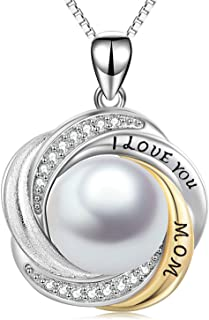 """""""I Love You Mom"""" Necklace Sterling Silver, Shell Pearl Pendant Jewelry Present, Birthday Gifts for Mother, 18 Inch"""